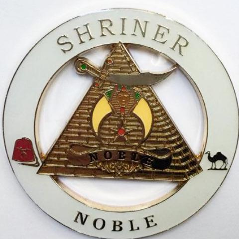 SHRINER NOBLE White Car Emblem - Bricks Masons