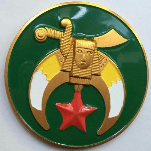 Shriners Crescent Moon Green Car Emblem - Bricks Masons