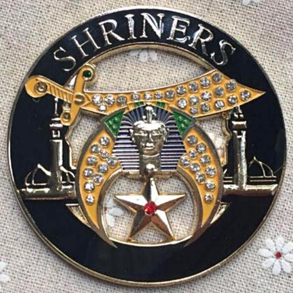 SHRINERS Rhinestone Minarets Black Car Emblem - Bricks Masons