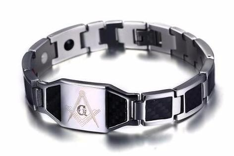 Silver Stainless Steel Magnetic Masonic Bracelet - Bricks Masons