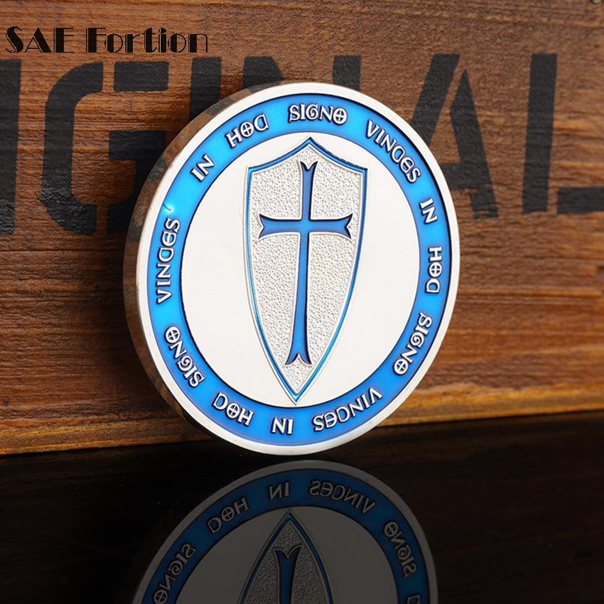 Knights Templar - IN HOD SIGNO VINCES Light Blue Coin - Bricks Masons