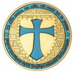 Knights Templar - Wide Cross Shield Light Blue Coin - Bricks Masons
