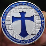 Knights Templar - Wide Cross Shield Navy Blue Coin - Bricks Masons