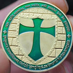 Knights Templar - Wide Cross Shield Green Coin - Bricks Masons