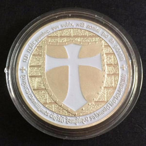 Knights Templar - Wide Cross Shield White Coin - Bricks Masons