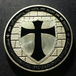Knights Templar - Wide Cross Shield Black Coin - Bricks Masons