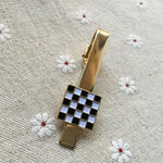Masonic Black and White Checkered Tie Clip - Bricks Masons