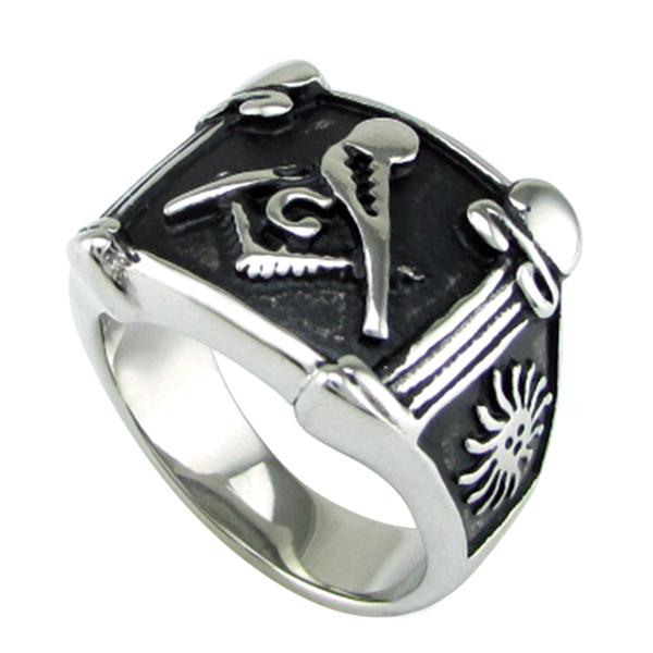 Silver Black Lodge Pillars Masonic Ring - Bricks Masons