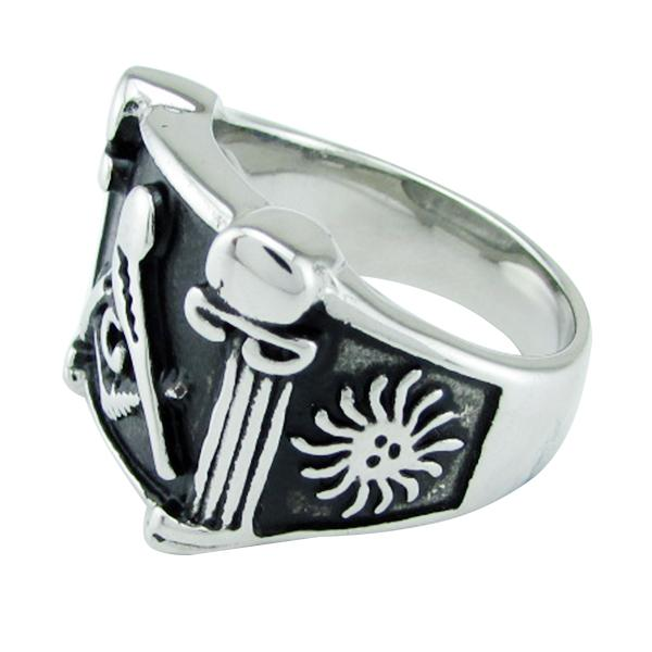 Silver Black Lodge Columns Masonic Ring - Bricks Masons
