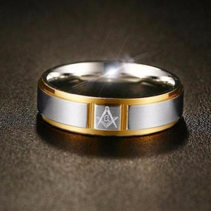 Cartier Gold Silver Masonic Ring - Bricks Masons