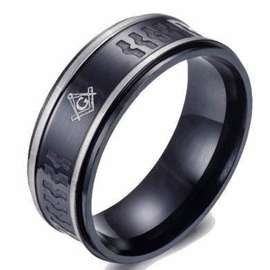 Navy Grey Bond Masonic Ring - Bricks Masons