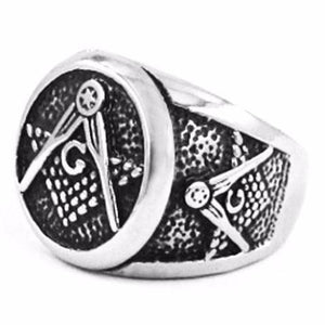Punk Gothic Freemasonry Biker Ring - Bricks Masons