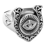 Horseshoe All-Seeing Eye Masonic Ring [Silver & Gold] - Bricks Masons