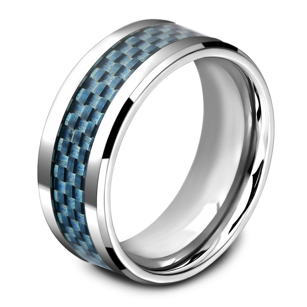 Checkered Blue Carbon Ring - Bricks Masons