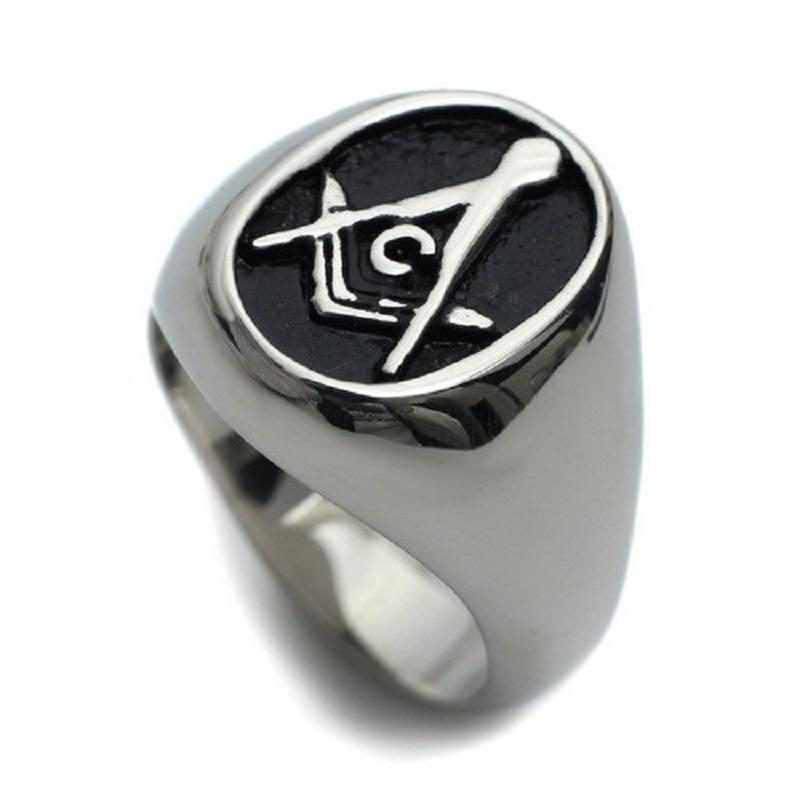 Oval Black Freemason Ring - Bricks Masons