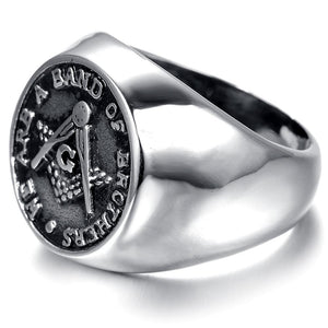 WE ARE A BAND OF BROTHERS Masonic Ring - Bricks Masons