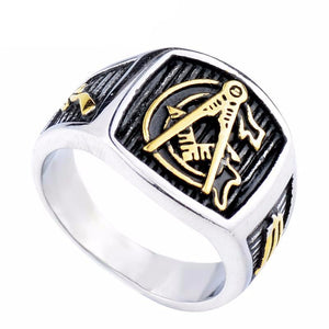 Silver Gold Tone Freemason Ring - Bricks Masons