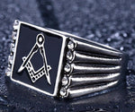 Bold Cubic Zirconia Freemason Ring - Bricks Masons