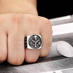 Biker Masonic Skull Ring - Bricks Masons