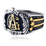 Eagle US Flag Masonic Ring [Gold & Silver] - Bricks Masons