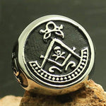 Silver Skull and Bones Masonic Ring - Bricks Masons