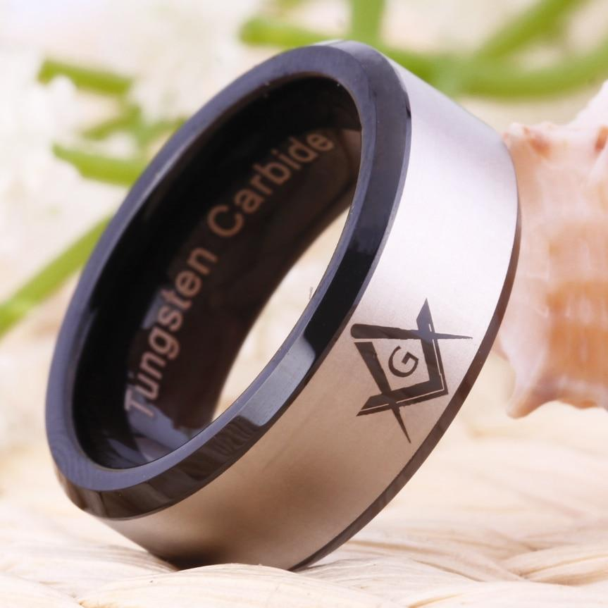 Black Beveled Masonic Master Mason Tungsten Ring Free Engraving - Bricks Masons
