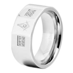 10mm Width Master Masonic Stainless Steel Ring With Czs Band - Bricks Masons