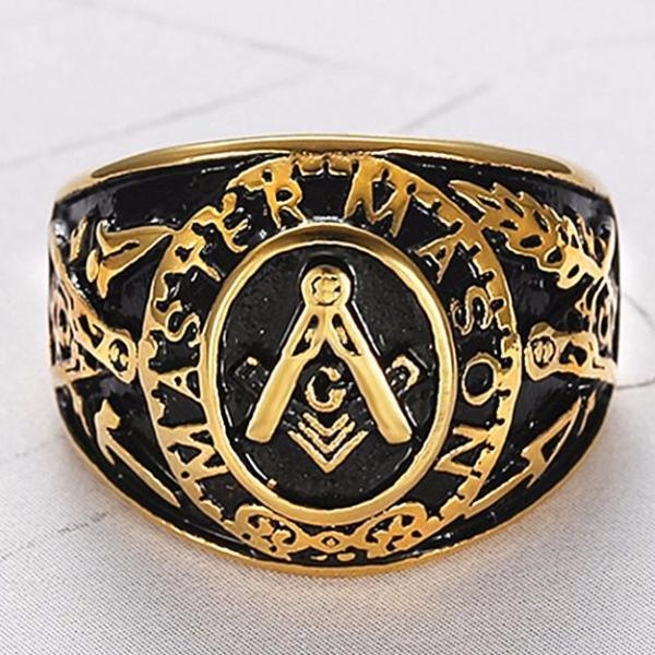 MASTER MASON Gold Black Freemason Ring - Bricks Masons