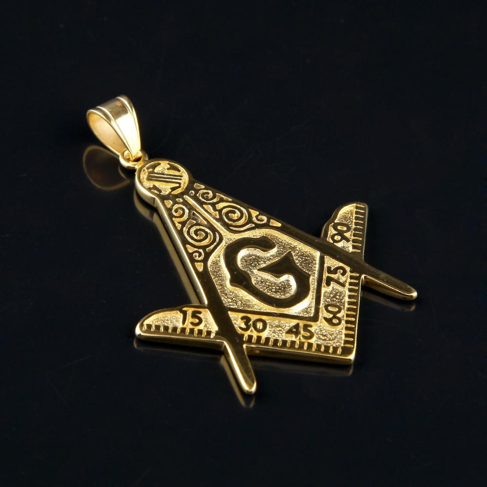 Numbered Square & Compass Gold Freemason Necklace - Bricks Masons