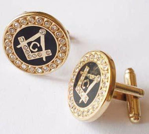 Round Rhinestone Freemason Cufflinks - Bricks Masons