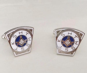 KSHTWSST White Silver Masonic Cufflinks - Bricks Masons