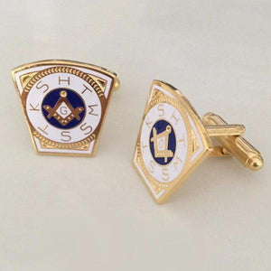 KSHTWSST White Gold Masonic Cufflinks - Bricks Masons