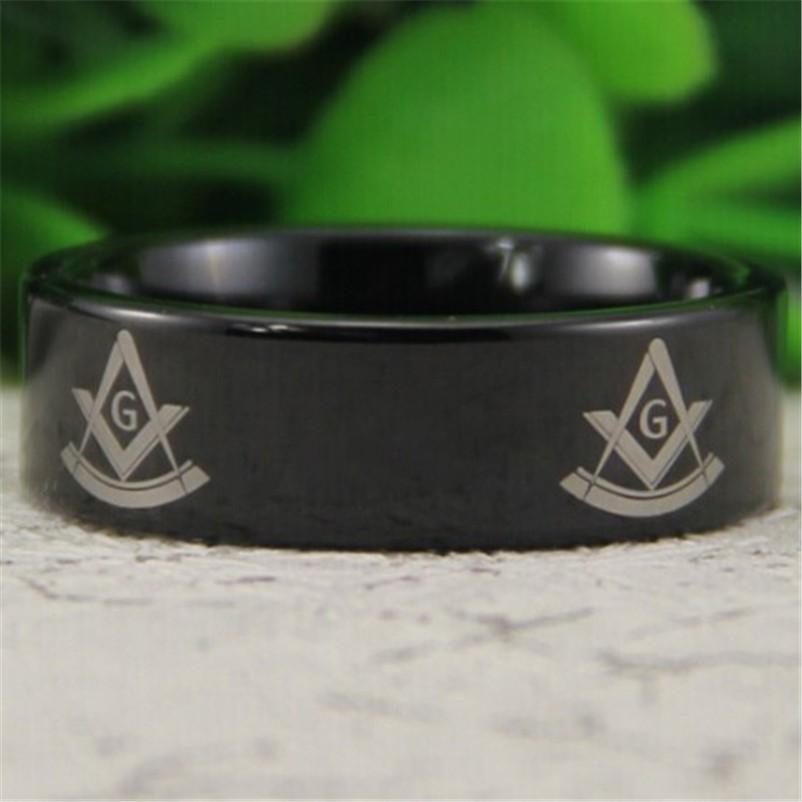 Black Past Master Masonic Ring Free Engraving - Bricks Masons