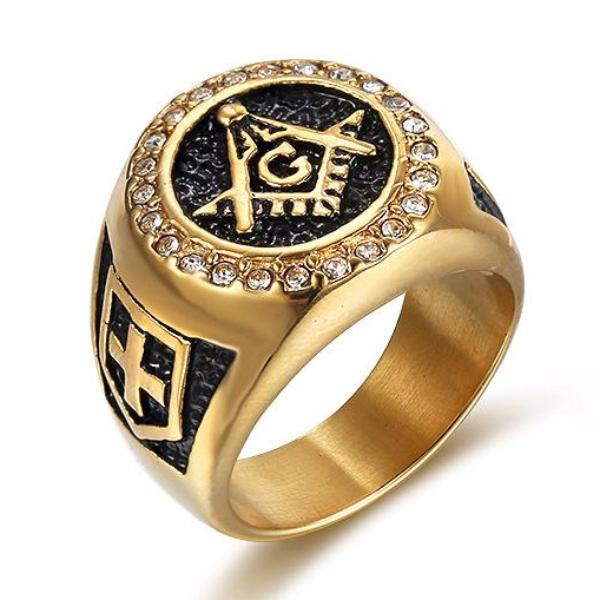 Knights Templar Zirconia Masonic Ring - Bricks Masons