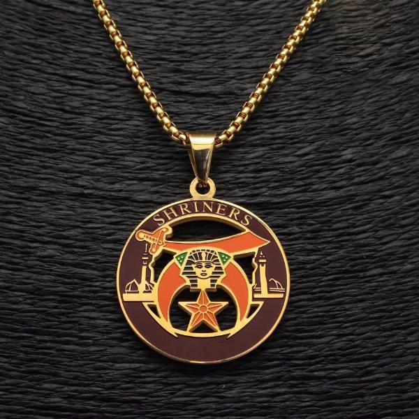 Gold & Silver Shriners Necklace - Bricks Masons