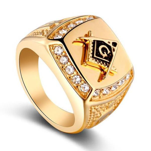 Zirconia Golden Masonic Ring