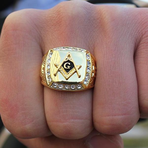 Zirconia Golden Masonic Ring - Bricks Masons