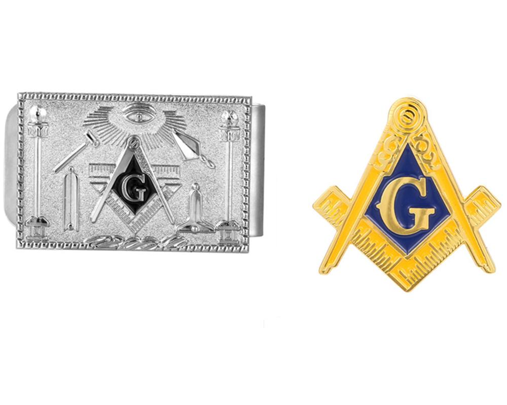 Masonic Silver Money Clip and Lapel Pin Set - Bricks Masons