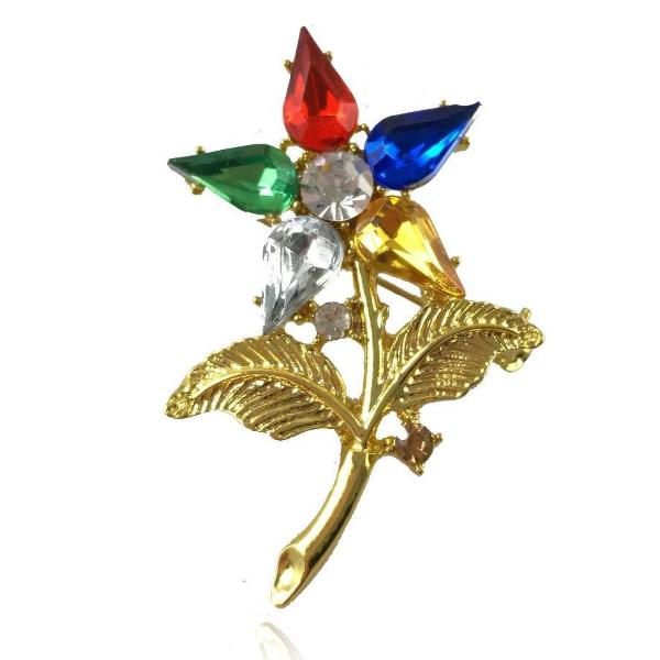 OES The Order of The Eastern Star Brooch Rhinestone Lapel pin - Bricks Masons