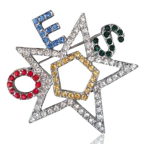 OES Order of The Eastern Star Brooch Crystal - Bricks Masons