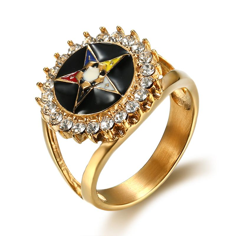Order of the Eastern Star Zirconia Masonic Ring - Bricks Masons