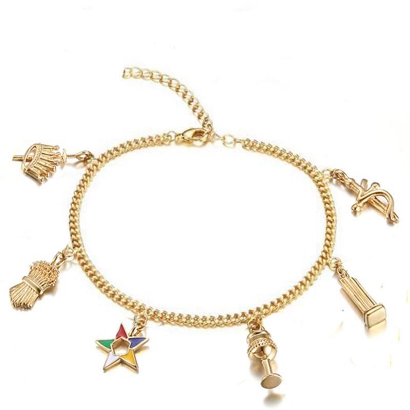 Elegant Golden Masonic Jewelry OES Charms Bracelets Ankle Order of Eastern Star - Bricks Masons