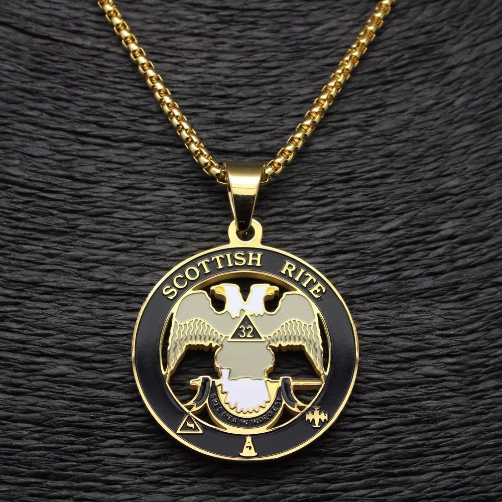 Scottish Rite 32nd Degree Gold Color Masonic Necklace