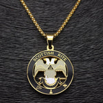 Scottish Rite 32nd Degree Gold Color Masonic Necklace - Bricks Masons