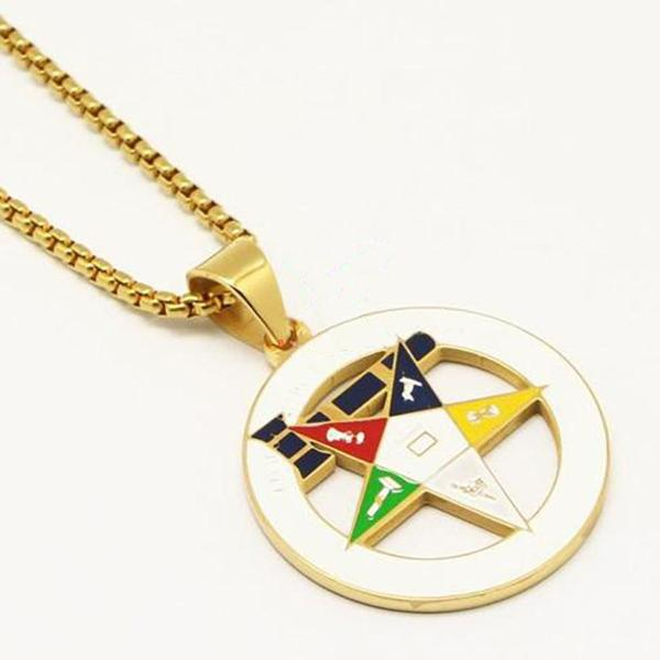 Gold Color Eastern Star Pendant Necklace - Bricks Masons