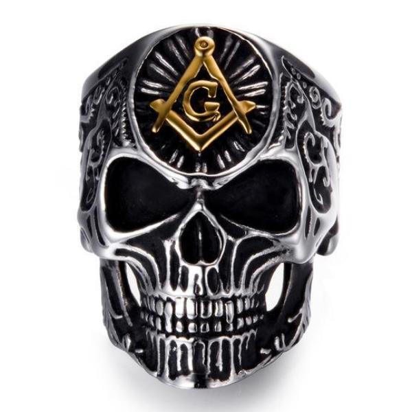 Gothic Skull Masonic Ring - Bricks Masons