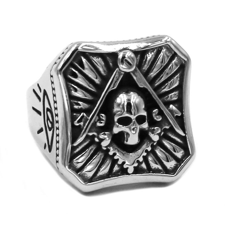 Square Compass Skull Masonic Ring