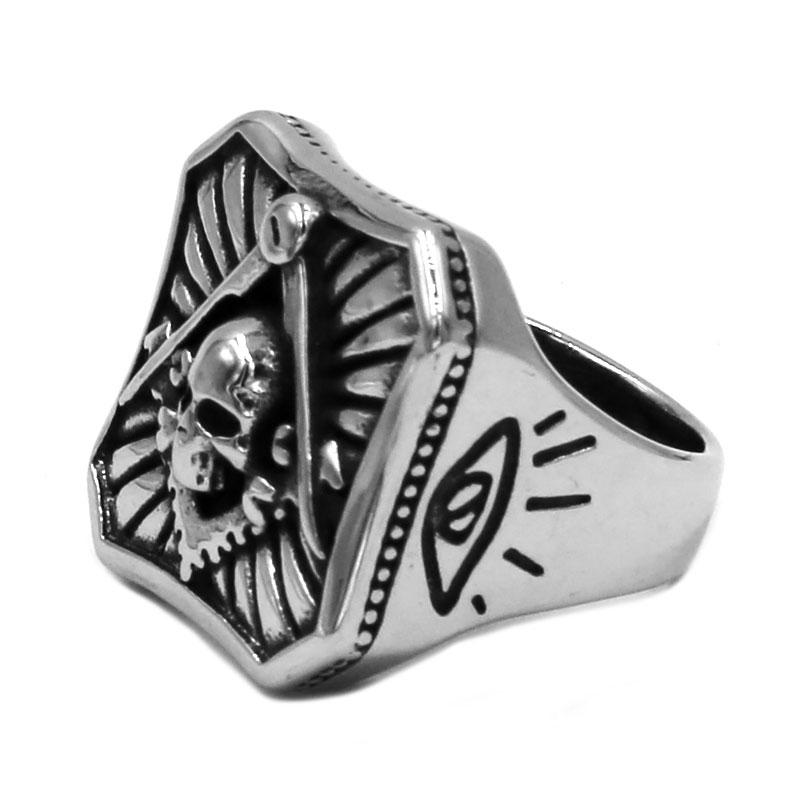Square Compass Skull Masonic Ring - Bricks Masons