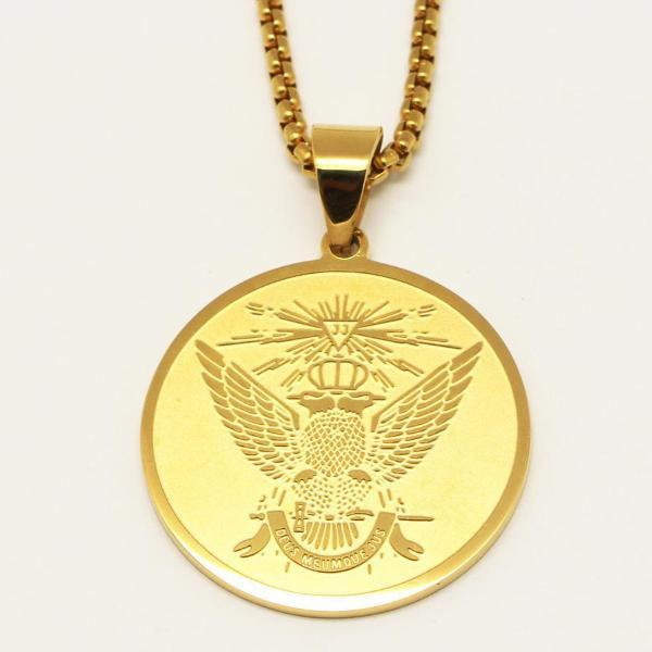 Scottish Rite 33rd Degree Gold Color Masonic Necklace - Bricks Masons