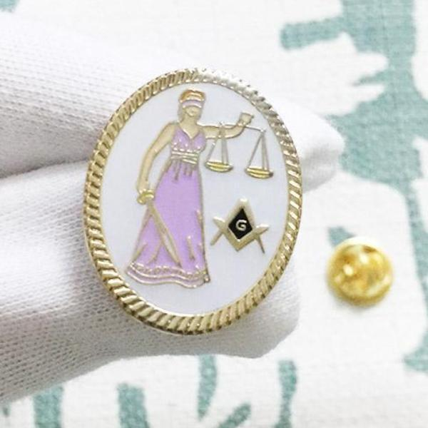 Lawyer Lady Justice Sword Masonic Lapel Pin